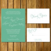 Seafoam Calligraphy Invitation Suite