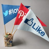 Photobooth prop - Wedding Flags - Facebook Like it, Love it, Pinterest Pin it