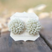 Large Cream Ecru Mum Earrings