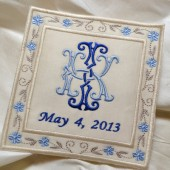 French Silk Satin Custom Embroidered Monogram Wedding Dress Label