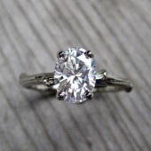 Oval Moissanite Twig Engagement Ring - White or Yellow Gold - 1.33ct