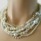 Pearl Choker Necklace Rhinestone