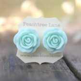 Large Mint Seafoam Green Rose Earrings