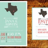 Mint & Coral State Love Invitation Suite
