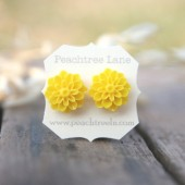 Bright Yellow Chrysanthemum Earrings