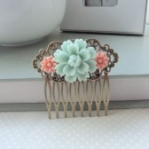 Soft Light Mint Green Rose, Pink Daisy Flower Collage Hair Comb, Bridesmaids Gift.