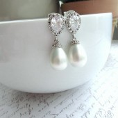 Rhodium Plated Cubic Zirconia Ear Post, Soft White Shell Pearls Tear Drop Earrings. Bridesmaids Gift, Bride Bridal Wedding. Maid of Honor.