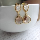 Gold Plated Champagne Peach Drop Jewels Earrings