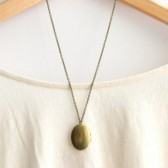 Oval Brass Locket Necklace