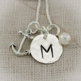 Anchor Initial Necklace in Sterling Silver