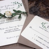 Burlap Rustic Wedding Invitation Suite // Burlap, Ivory, Green