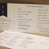 Faux Ribbon / Horizontal Wedding Program / Navy / Lavender / Church / Outdoor / Wedding Ceremony / Party / Custom Design by Darby Cards
