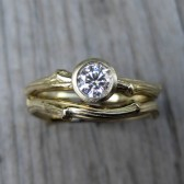 Diamond Twig Engagement and Wedding Ring Set, .25ct VS/GH Diamond, Recycled Gold