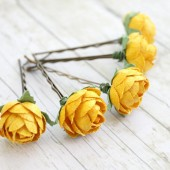 Yellow Paper Garden Rose Hair Pins