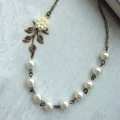 Creamy Ivory Dahlia Mum Flower, Brass Leaf, Ivory Pearls Necklace. Bridesmaids Gifts. Vintage Cottage Themed Wedding. Ivory Wedding.
