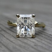 Emerald Cut Moissanite Branch Engagement Ring - 2.43ct - White or Yellow Gold
