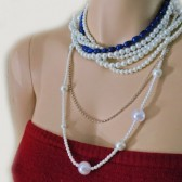 Pearl lNecklace with Indigo Freshwater Pearls Rhinestone - Handmade