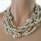 Pearl Bridal Necklace Chunky Wedding Necklace Crystal Rhinestone