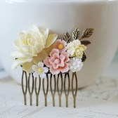 Bridal Hair Comb. Flowers Floral Collage Hair Comb. Ivory Rose, Pink Sakura, White Ivory Flowers, Brass Leaf Filigree Hair Comb