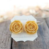 Mustard Yellow Rose Earrings