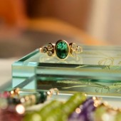 Grace Kelly Elegance Green Tourmaline and Diamonds Ring