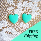 Mint Green Earrings Heart Studs
