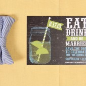 Mason Jar Chalkboard Save the Date Postcard