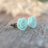 Mint Seafoam Green Rose Flower Cufflinks