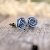 Grey Rose Flower Cufflinks