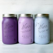 Purple Ombre Painted and Distressed Mason Jars