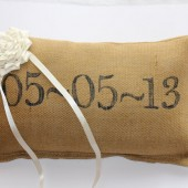 Ring Bearer Pillow - Wedding Date Pillow- Personalized Pillow - Burlap Pillow