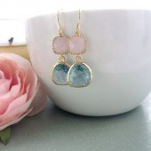 Aqua Light Blue Framed Glass Drop and Pink Opal Glass Drop French Dangle Earrings