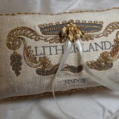 Wedding Ring Bearer Pillow, Custom Embroidered Monogram
