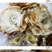CARAMEL Wedding Bridal Bouquet Jewelry Fabric Flowers