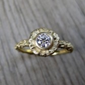 Moissanite Twig Halo Ring in Recycled Gold, 4mm Forever Brilliant Moissanite