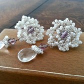 Lace Bridal Stud Earrings with Rock Crystal