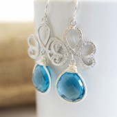 Bezel Set Blue Quartz Dangle Earrings