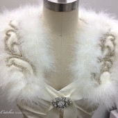 Rita Ostrich Feather and Crystal Wedding Bolero Jacket