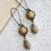 Light Peach, Ivory Gold Ornate Bead Earrings. Vintage Theme Wedding
