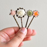 Bridal Hairpin Set II - Floral Bridal Bobby Pin Hairpins, pink green hairpins, woodland wedding
