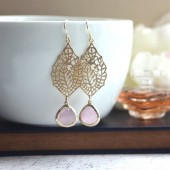 Paisley Filigree Chandelier Ice Pink Gold Drop Dangle Earrings, Bridesmaid Earrings