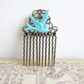 Shabby Chic Hair Comb Blue Bird Turquoise Wedding Theme