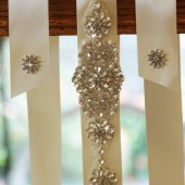 Satin ribbon with crystal and rhinestone beaded applique wedding sash