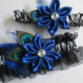 Wedding Garters, Zebra Garters, Royal Blue Satin Garters, Blue Kanzashi, Peacock Garters, Blue Feather Garters for Destination Bride