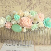 Pink Mint Green Hair Comb Pastel Colors Wedding