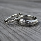 Twig Wedding Band Set: White, Yellow, or Rose Gold; Set of Two 14k Rings