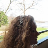 Headband Rhinestone Floral Design Sweeping Side Design