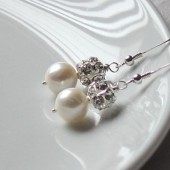 Fresh Water Pearl and Rhinestone Earrings
