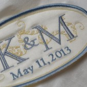 French Silk Satin Custom Embroidered Wedding Dress Label