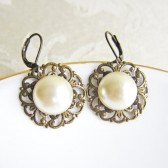 Dangling Pearl Earrings in Ivory or White